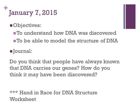 + January 7, 2015 Objectives: To understand how DNA was discovered To be able to model the structure of DNA Journal: Do you think that people have always.
