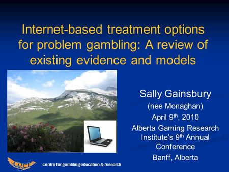 Centre for gambling education & research Internet-based treatment options for problem gambling: A review of existing evidence and models Sally Gainsbury.