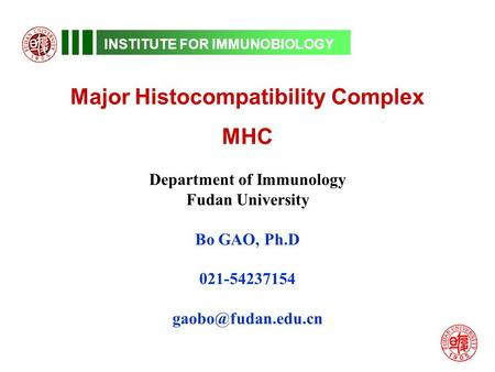 INSTITUTE FOR IMMUNOBIOLOGY Major Histocompatibility Complex MHC Department of Immunology Fudan University Bo GAO, Ph.D 021-54237154