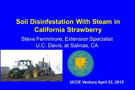 Soil Disinfestation With Steam in California Strawberry