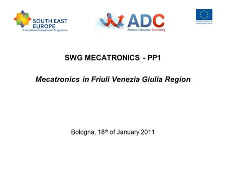 SWG MECATRONICS - PP1 Mecatronics in Friuli Venezia Giulia Region Bologna, 18 th of January 2011.