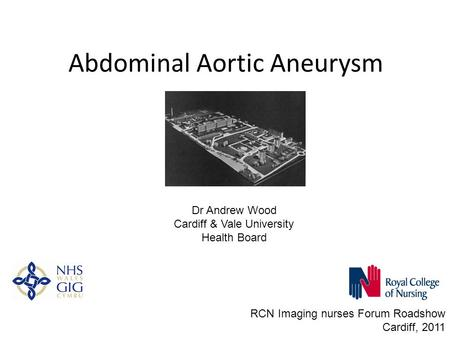 Abdominal Aortic Aneurysm RCN Imaging nurses Forum Roadshow Cardiff, 2011 Dr Andrew Wood Cardiff & Vale University Health Board.