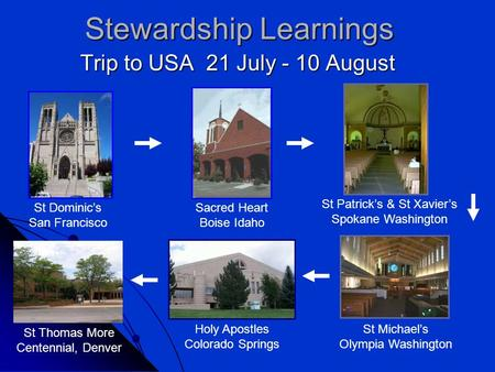 Stewardship Learnings Trip to USA 21 July - 10 August St Dominic's San Francisco Sacred Heart Boise Idaho St Patrick's & St Xavier's Spokane Washington.
