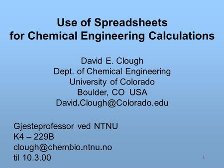 for Chemical Engineering Calculations
