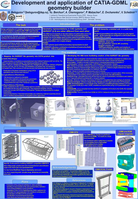 Examples Development and application of CATIA-GDML geometry builder Introduction 1- Institute for Theoretical and Experimental Physics (ITEP), Moscow,