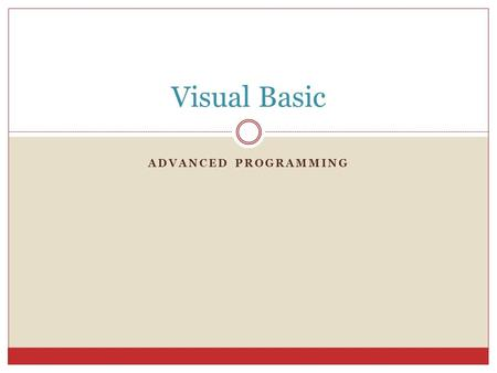 Visual Basic Advanced Programming.