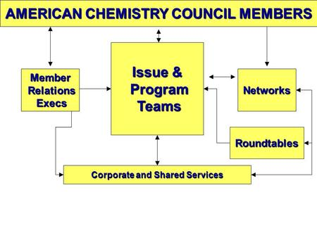 AMERICAN CHEMISTRY COUNCIL MEMBERS Networks Issue & Issue & Program Program Teams Teams Corporate and Shared Services Corporate and Shared Services Roundtables.