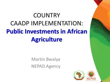 Public Investments in African Agriculture COUNTRY CAADP IMPLEMENTATION: Public Investments in African Agriculture Martin Bwalya NEPAD Agency.