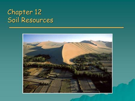 Chapter 12 Soil Resources. Overview of Chapter 15 o What is soil? o Soil Properties o Major Soil Orders o Soil Problems o Soil Conservation o Soil Reclamation.