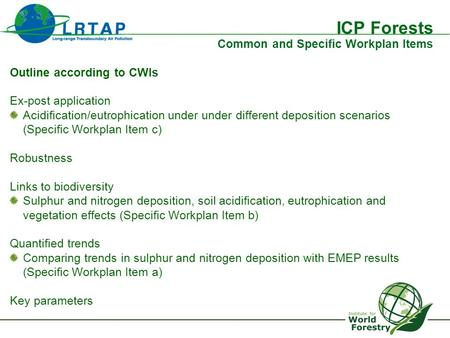 ICP Forests Common and Specific Workplan Items Outline according to CWIs Ex-post application Acidification/eutrophication under under different deposition.