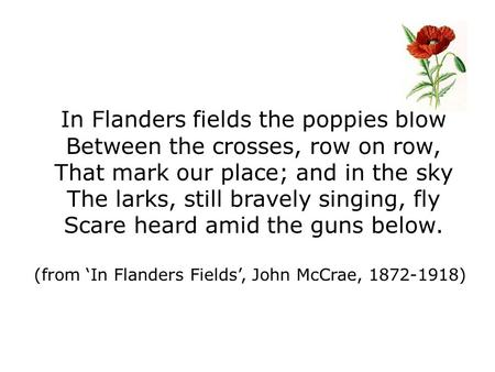 In Flanders fields the poppies blow Between the crosses, row on row, That mark our place; and in the sky The larks, still bravely singing, fly Scare heard.