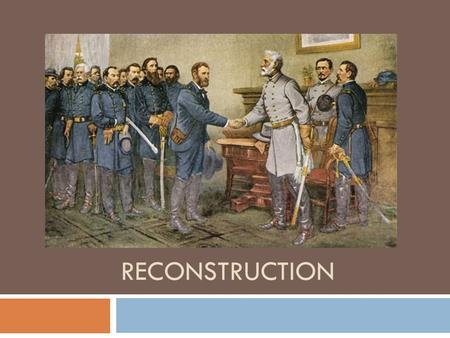 RECONSTRUCTION. Lincoln's Plan to Reunite the Nation  All property taken during the war (except for slaves) will be returned to Southerners  Except.