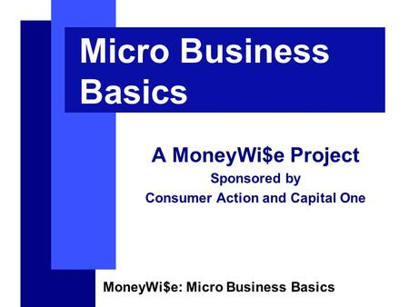 MoneyWi$e: Micro Business Basics Micro Business Basics A MoneyWi$e Project Sponsored by Consumer Action and Capital One.
