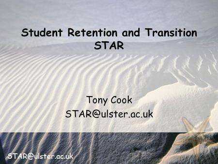Tony Cook Student Retention and Transition STAR.