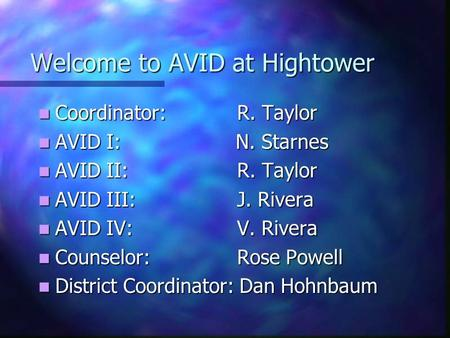 Welcome to AVID at Hightower Coordinator: R. Taylor Coordinator: R. Taylor AVID I: N. Starnes AVID I: N. Starnes AVID II: R. Taylor AVID II: R. Taylor.