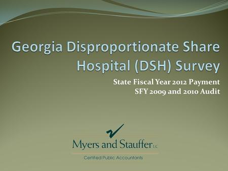 State Fiscal Year 2012 Payment SFY 2009 and 2010 Audit.