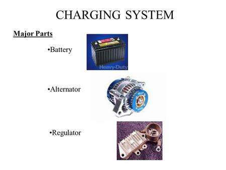 CHARGING SYSTEM Major Parts Battery                                               Alternator Regulator.