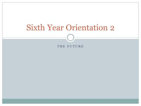 THE FUTURE Sixth Year Orientation 2. Déjà Vu Last time …..  The importance of the Sixth Year  Study of subjects relevant to later career  Grounding.
