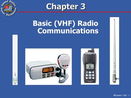 Chapter 3 Basic (VHF) Radio Communications MComm – Ch3 - 1.