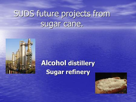 SUDS future projects from sugar cane. Alcohol distillery Sugar refinery.