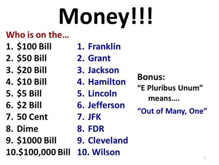 Money!!! Who is on the… 1.$100 Bill 2.$50 Bill 3.$20 Bill 4.$10 Bill 5.$5 Bill 6.$2 Bill 7.50 Cent 8.Dime 9.$1000 Bill 10.$100,000 Bill 1.Franklin 2.Grant.