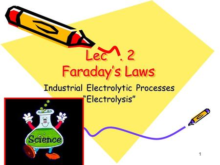 "1 Lec. 2 Faraday's Laws Lec. 2 Faraday's Laws Industrial Electrolytic Processes ""Electrolysis"""