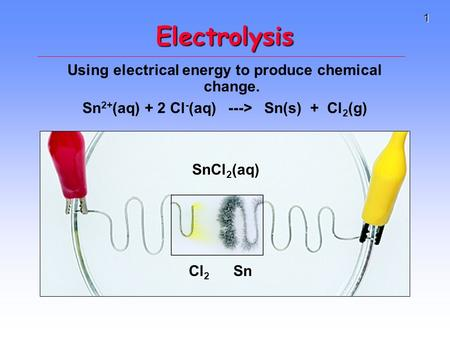 1 Electrolysis Using electrical energy to produce chemical change. Sn 2+ (aq) + 2 Cl - (aq) ---> Sn(s) + Cl 2 (g) Sn Cl 2 SnCl 2 (aq)