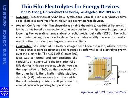 National Science Foundation Thin Film Electrolytes for Energy Devices Jane P. Chang, University of California, Los Angeles, DMR 0932761 Outcome: Researchers.