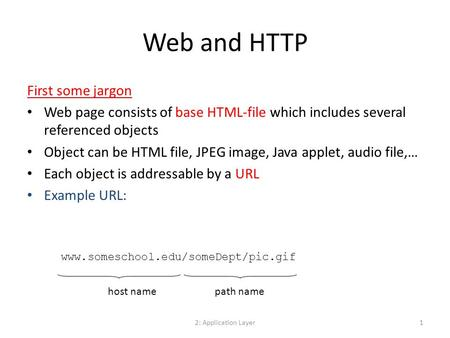2: Application Layer1 Web and HTTP First some jargon Web page consists of base HTML-file which includes several referenced objects Object can be HTML file,