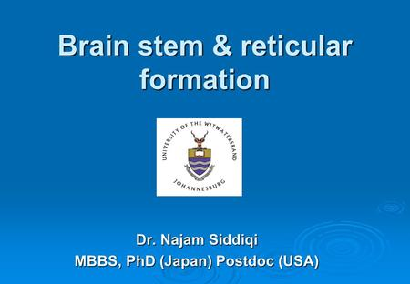 Brain stem & reticular formation Dr. Najam Siddiqi MBBS, PhD (Japan) Postdoc (USA)