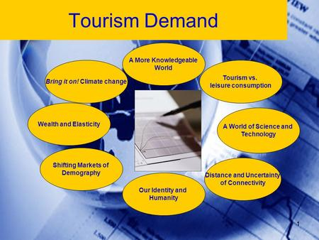 1 Tourism vs. leisure consumption Tourism Demand A More Knowledgeable World Our Identity and Humanity Distance and Uncertainty of Connectivity Shifting.
