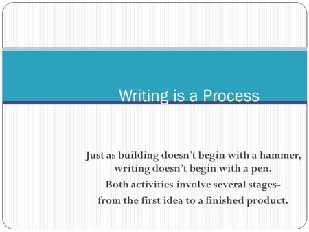 Just as building doesn't begin with a hammer, writing doesn't begin with a pen. Both activities involve several stages- from the first idea to a finished.
