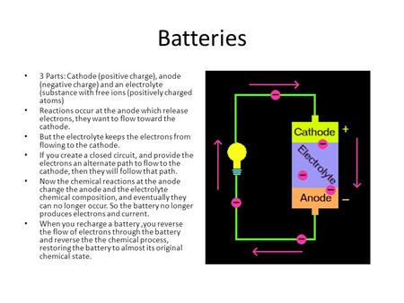 Batteries 3 Parts: Cathode (positive charge), anode (negative charge) and an electrolyte (substance with free ions (positively charged atoms) Reactions.