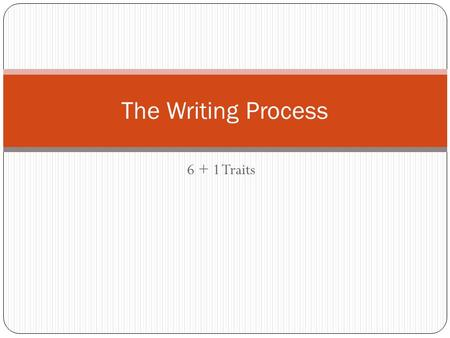 6 + 1 Traits The Writing Process. Traits Ideas Voice Organize Sentence Fluency Word Choice Conventions PRESENTATION.