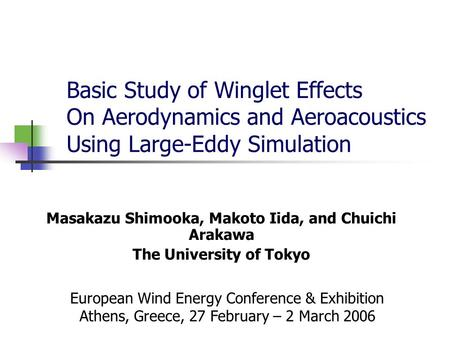 Basic Study of Winglet Effects