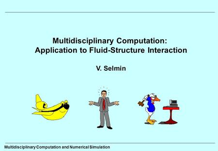 Multidisciplinary Computation: Application to Fluid-Structure Interaction V. Selmin Multidisciplinary Computation and Numerical Simulation.