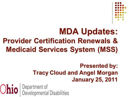 MDA Updates: Provider Certification Renewals & Medicaid Services System (MSS) Presented by: Tracy Cloud and Angel Morgan January 25, 2011.