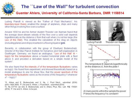 "The ``Law of the Wall"" for turbulent convection Guenter Ahlers, University of California-Santa Barbara, DMR 1158514 Ludwig Prandtl is viewed as the ""Father."