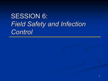 1 SESSION 6: Field Safety and Infection Control. DOT Curriculum Session 62 Transmission of M. Tuberculosis 1. TB is transmitted through the air by a person.