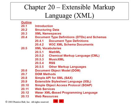  2003 Prentice Hall, Inc. All rights reserved. Chapter 20 – Extensible Markup Language (XML) Outline 20.1 Introduction 20.2 Structuring Data 20.3 XML.
