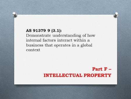 Part F – INTELLECTUAL PROPERTY AS 91379 9 (3.1): Demonstrate understanding of how internal factors interact within a business that operates in a global.