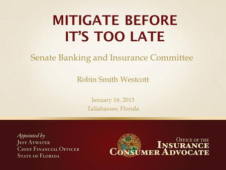 Robin Smith Westcott January 16, 2013 Tallahassee, Florida Senate Banking and Insurance Committee.