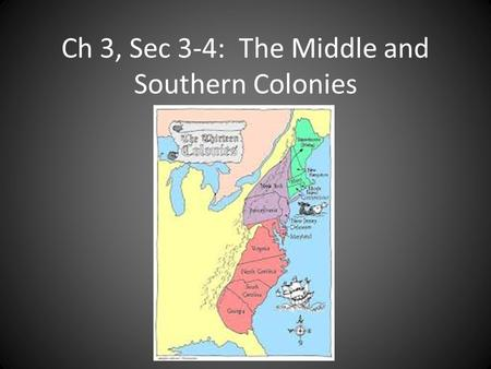 Ch 3, Sec 3-4: The Middle and Southern Colonies. The Colonies Middle ColoniesSouthern Colonies New YorkMaryland New JerseyNorth Carolina PennsylvaniaSouth.