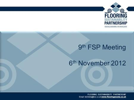 FLOORING SUSTAINABILITY PARTNERSHIP  9 th FSP Meeting 6 th November 2012.