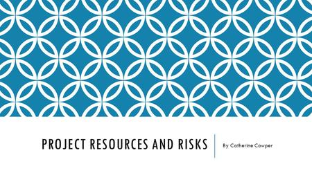 PROJECT RESOURCES AND RISKS By Catherine Cowper. AVAILABLE RESOURCES When doing a project there are various resources that need to be made available for.
