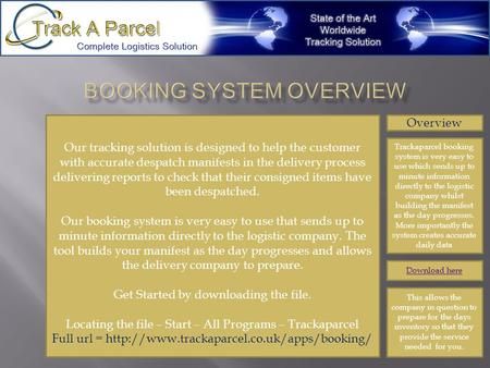 Overview Trackaparcel booking system is very easy to use which sends up to minute information directly to the logistic company whilst building the manifest.