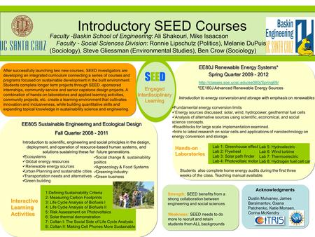 After successfully launching two new courses, SEED investigators are developing an integrated curriculum connecting a series of courses and programs focused.