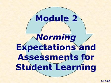Module 2 Norming Expectations and Assessments for Student Learning 2.15.05.