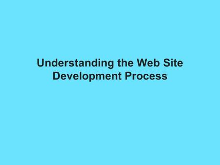 Understanding the Web Site Development Process. Understanding the Web Site Development You need a good project plan Larger projects need a project manager.
