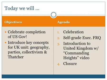 Objectives Agenda Celebrate completion of US Gov! Introduce key concepts for UK unit: geography, parties, collectivism & Thatcher 1. Celebration 2. Self-grade.